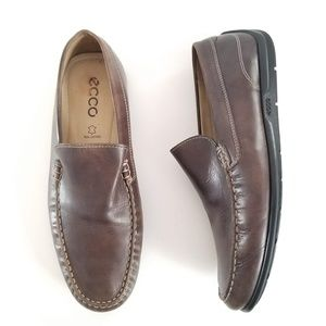 Ecco Brown Leather Loafers Drivers Casual Shoes